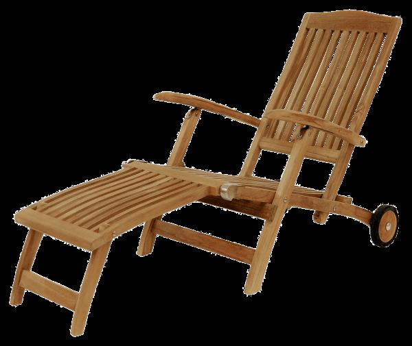 Teak Deckchair ergo mit Rädern 148 x 60 cm Höhe 97 cm der Moderne