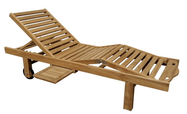 Teak-Rollliege mit Abstelltisch und verstellbar 200 x 65 cm Höhe 33-90 cm
