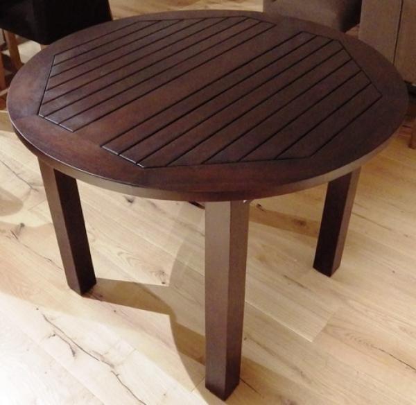 bergholz holzimport gmbh esstisch teak colonial mit 7 cm beinen rund durchmesser 100 cm h he 76 cm. Black Bedroom Furniture Sets. Home Design Ideas